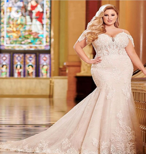 full lace plus size wedding gown