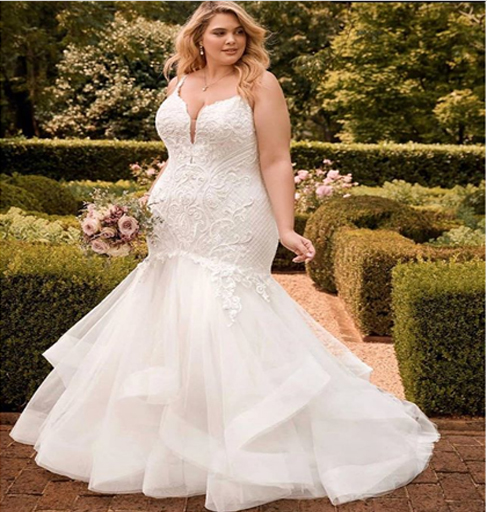 mermaid style plus size bridal gown