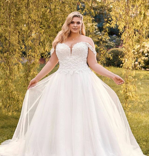 off shoulder wedding plus size gowns