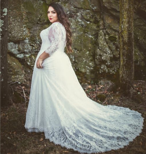 plus size wedding gowns lace sleeves